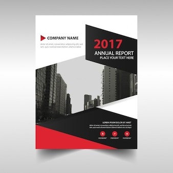 Corporate brochure geometric black and red