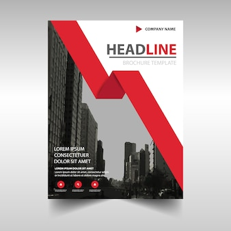 Corporate brochure template with a red geometric ribbon