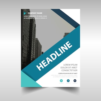 Corporate brochure template with blue geometric lines