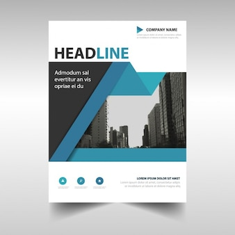 Corporate brochure with a blue geometric ribbon