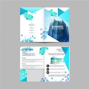 Corporate brochure with blue geometric elements