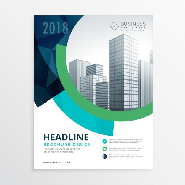 Corporate brochure with circular shapes