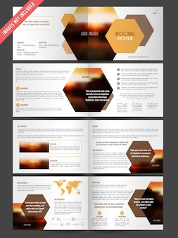 Corporate brochure with geometric shapes
