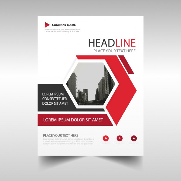 Corporate brochure with hexagonal shapes