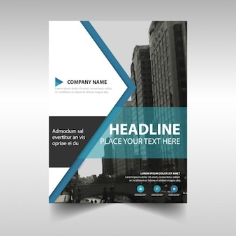 Corporate brochure with triangular shapes and blue lines