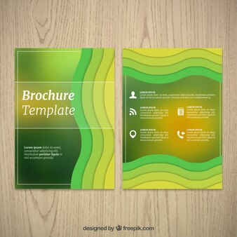 Corporate brochure with wavy green shapes