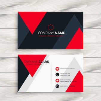 Corporate business card with red triangles