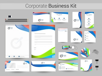 Corporate Business Kit with colorful Waves.