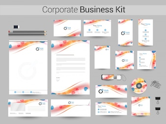Corporate Business Kit with waves and heart.