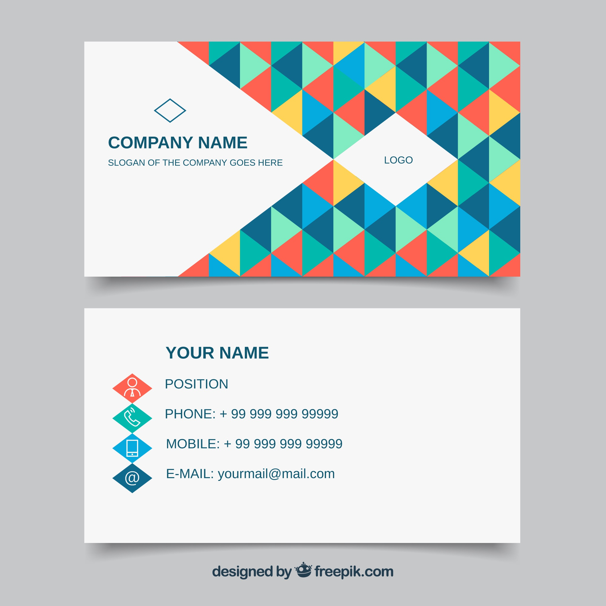 Corporate card of colorful triangles