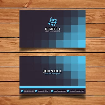 Corporate card with blue squares
