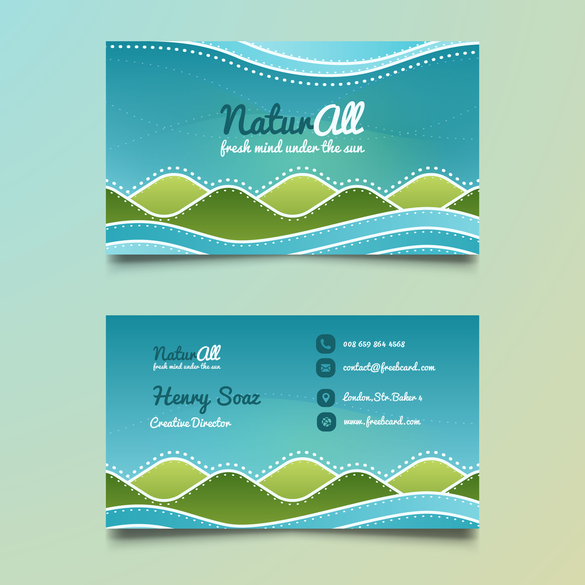 Corporate card with elements of nature
