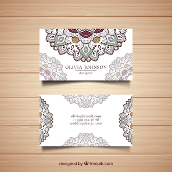 Corporate card with hand drawn mandalas