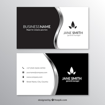Corporate card with metallic wavy forms
