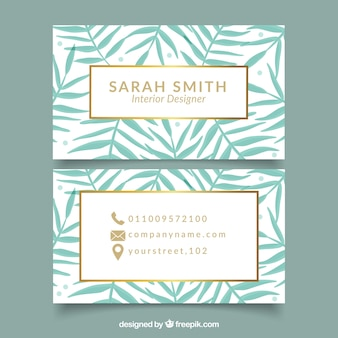 Corporate card with palm leaves
