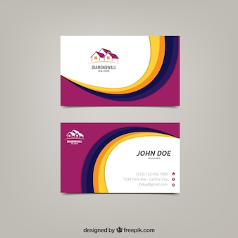 Corporate card with wavy forms
