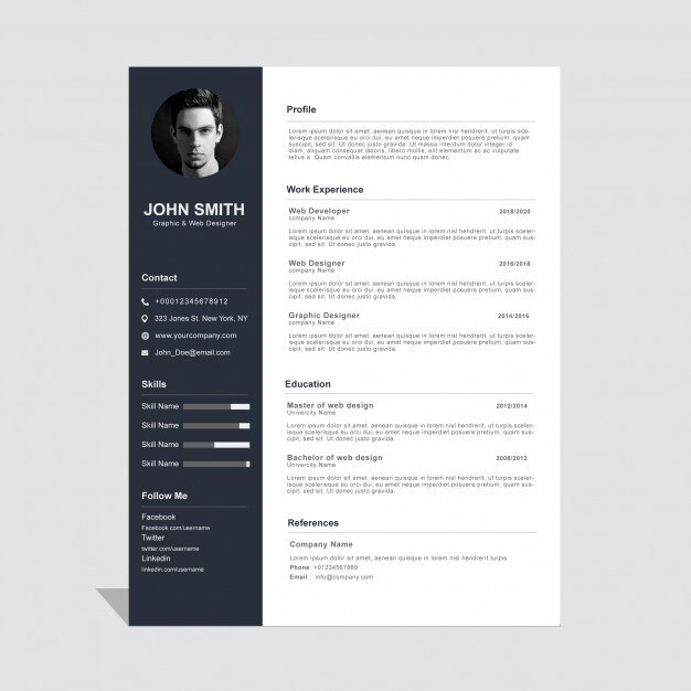 Beautiful Curriculum Vitae Design Vector | Free Download