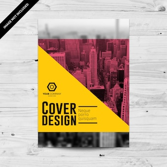 Corporate flyer design template with yellow and pink