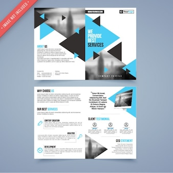 Corporate flyer template with blue and black triangles