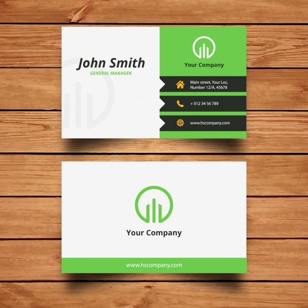 Corporate green business card design