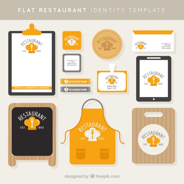 Corporate identity for a restaurant in flat style