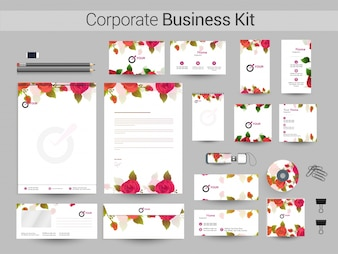 Corporate Identity Kit with rose flowers.