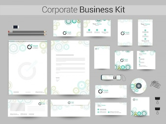 Corporate Identity or Business Kit with green circles.