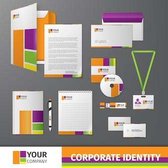 Corporate identity with color shapes