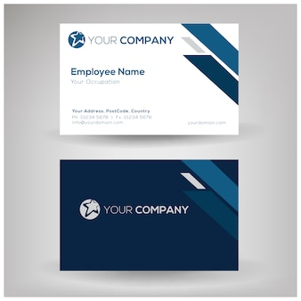 Corporate name card with blue ornament
