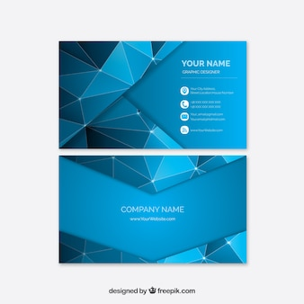 Corporate polygonal card in blue color
