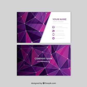 Corporate polygonal card in purple tone