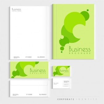 Corporate stationery in green tones