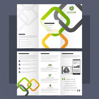 Corporate Tri-Fold Brochure, Leaflet with squares.