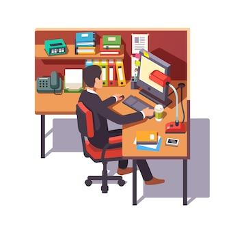 Corporate worker clerk doing his job