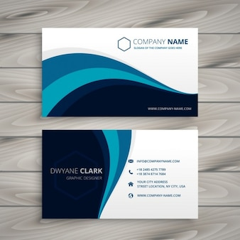 Corporative card with blue waves