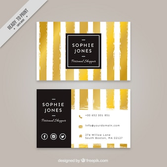 Corporative card with golden stripes