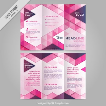 Corporative trifold with pink triangles