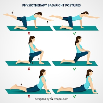 Correct and incorrect physiotherapy postures