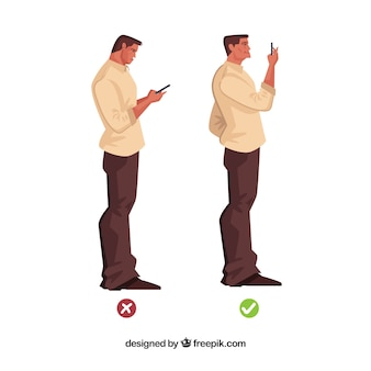 Correct and incorrect posture in front of the mobile