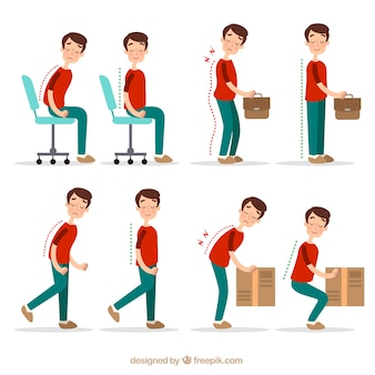 Correct and incorrect postures for activities