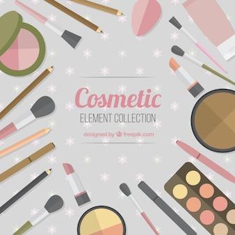 Cosmetics equipment background in flat design
