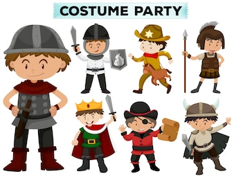 Costume party with boys in different costumes