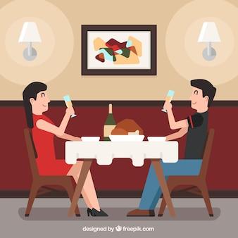 Couple date scene in a restaurant