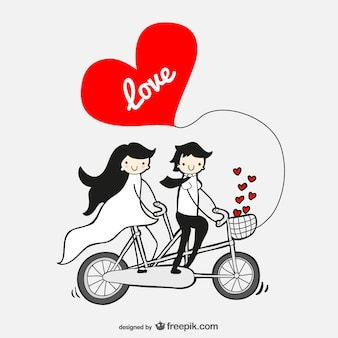 Couple in love in a tandem bicycle