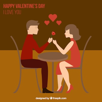 Couple in love in valentines day illustration