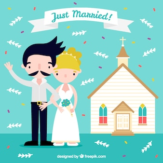 Couple just married illustration