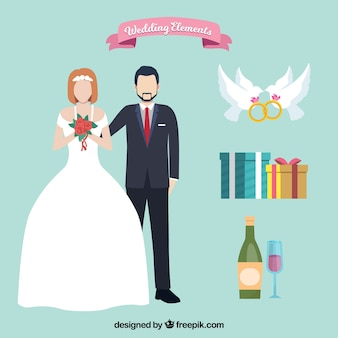 Couple of bride and groom with wedding elements