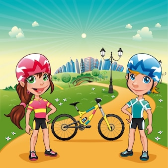 Couple practising cycling