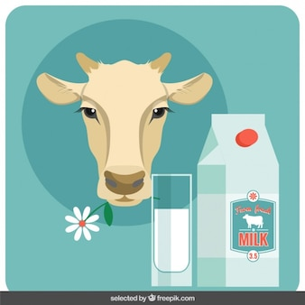 Cow head and milk illustration in flat design