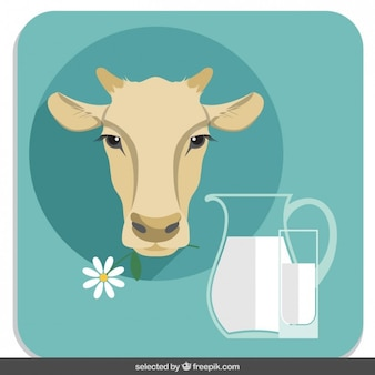 Cow head illustration in flat design